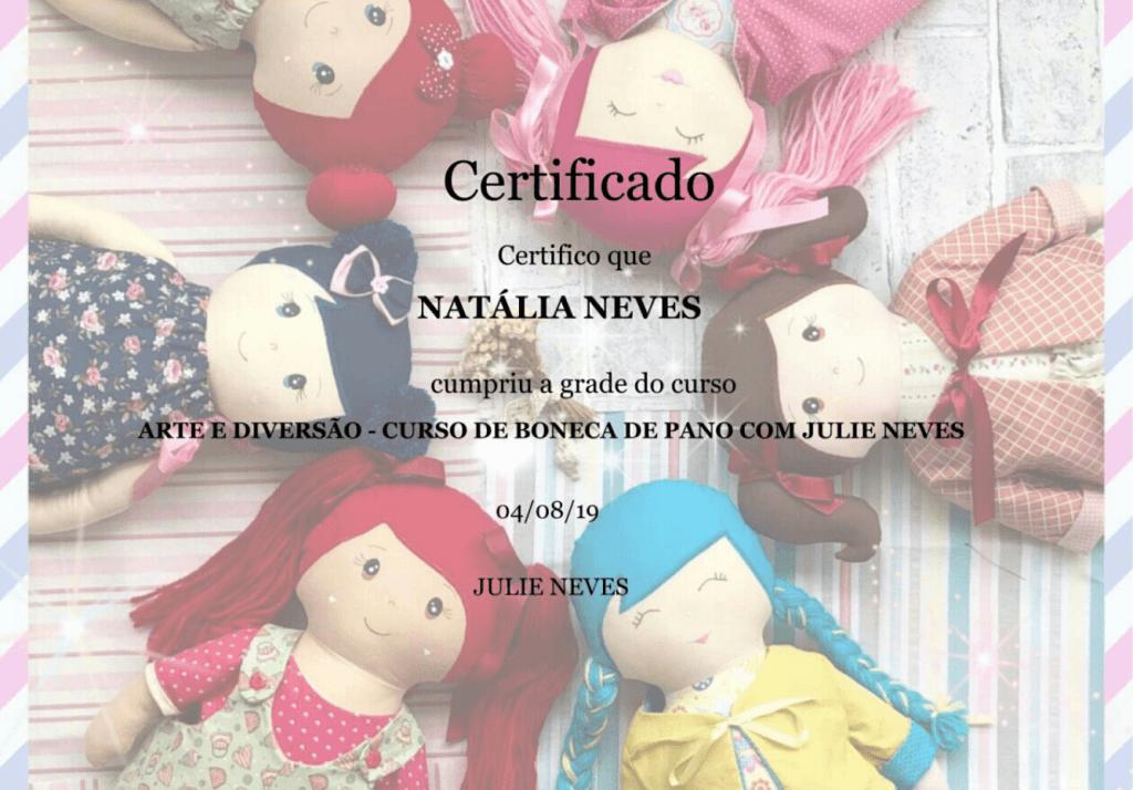 Certificado Curso Arte & Diversão com Julie Neves